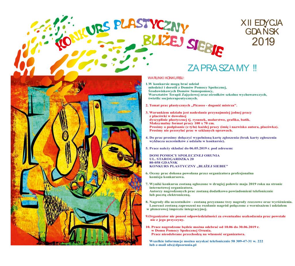 zaproszenie konkurs plastyczny bliżej siebie 2019